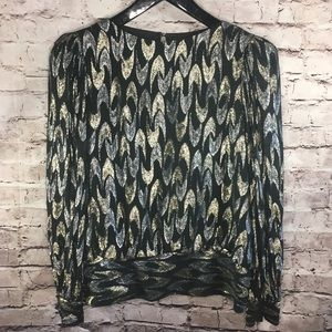 Fabulous vintage glam gold & silver metallic top